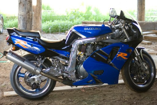 Mid-life crisis - blue motorcycle