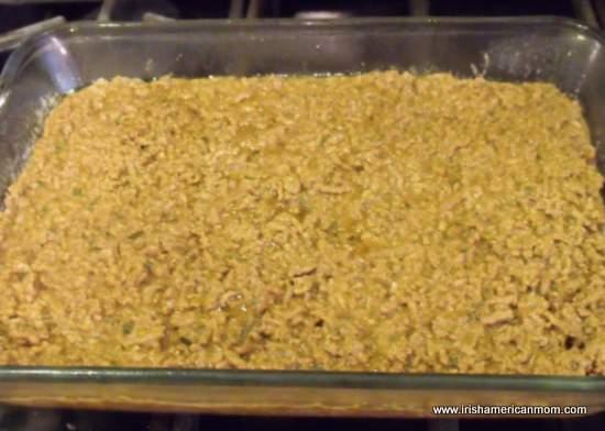Beef in baking dish for Shepherd's pie