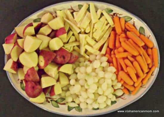 Prepared vegetables for Guinness stew