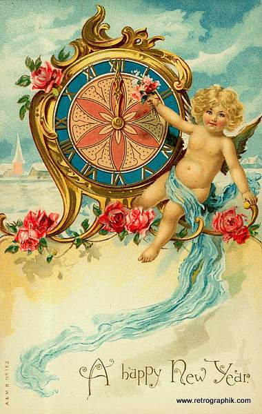 Cherub and New Year Clock
