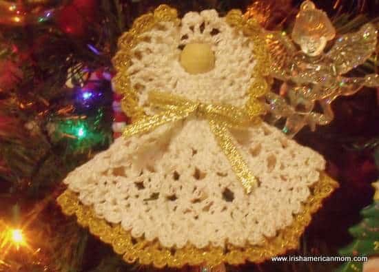 Crochet Angel with gold edged skirt