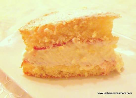 Slice of Irish sponge cake