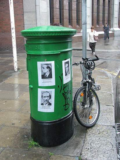 Irish Post Box with images of 1916 heroes