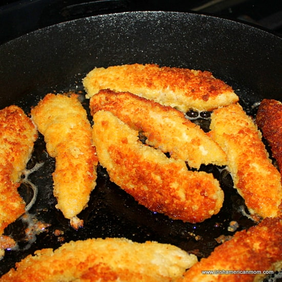 Frying chicken tenders in oil