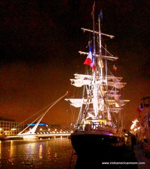 The Jeanie Johnston Famine Ship - at night