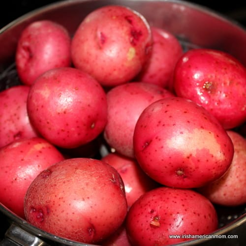 Steaming red potatoes