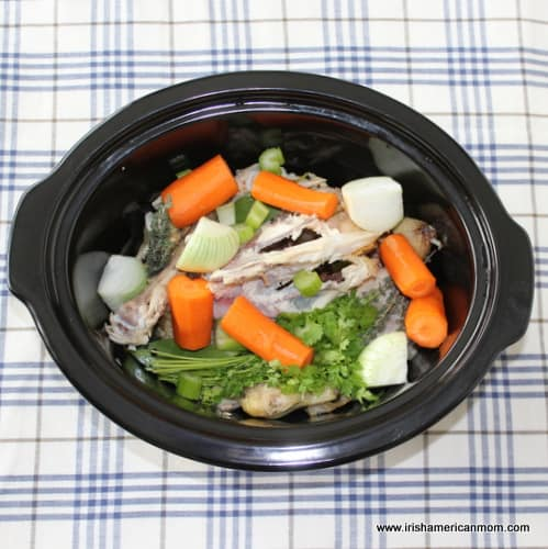 Chicken Stock Ingredients in a Crockpot or Slow Cooker