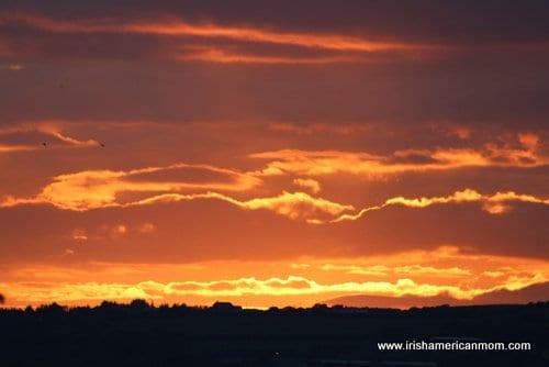 Golden summer sky in Ireland