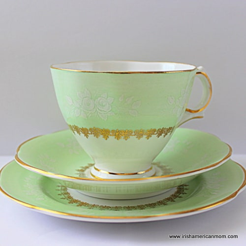 Green and gold china teacup