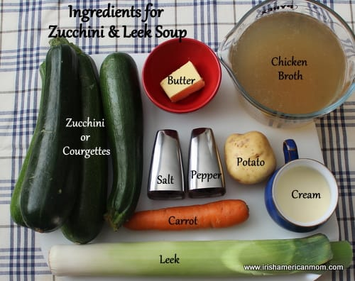 Ingredients for zucchini and leek soup