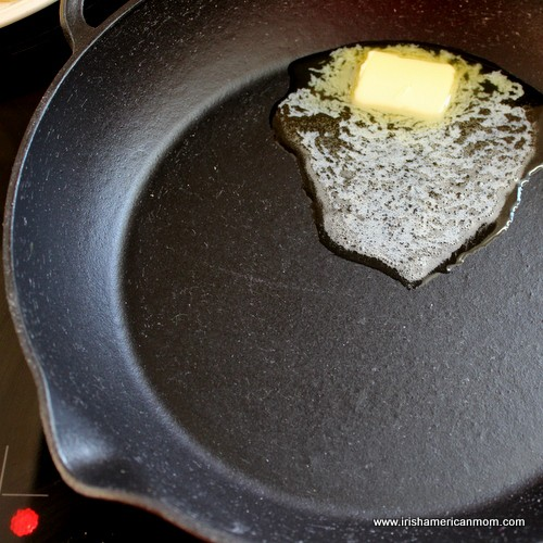 Melting butter in a cast iron pan