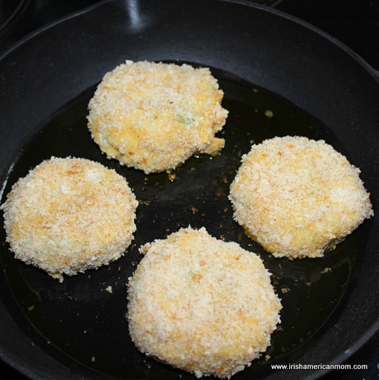 Frying fish cakes in a cast iron skillet