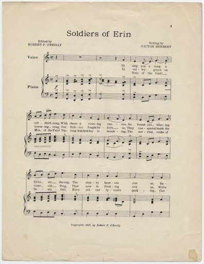 Soldiers of Erin 1917 page 1 Ward Music Archives