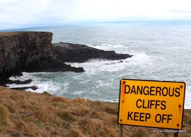 Dangerous Cliffs sign in Ireland
