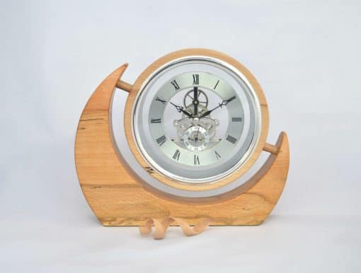 Irish woodturning - crescent clock