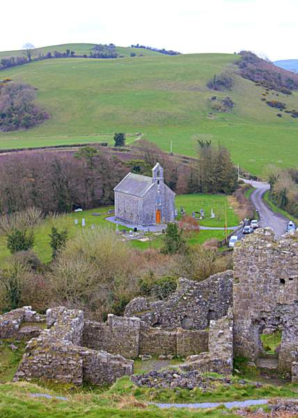 View from the Rock of Dunamase in County Laois looking down on Trinity Church. The ruins of an old castle stand atop this rocky outcrop 150 feet high.
