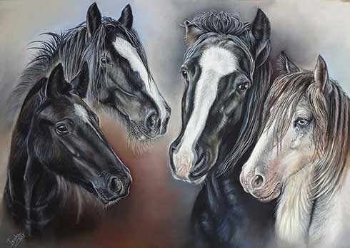 Horse Portraits in Pastel