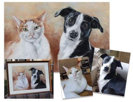 Cat and dog portrait painting