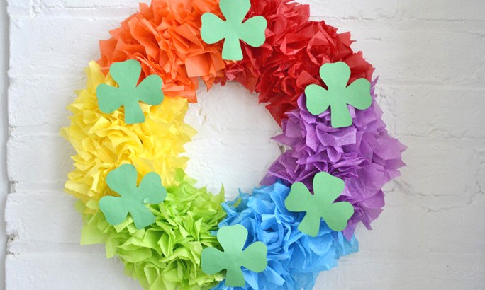 A rainbow wreath for St Patrick's Day