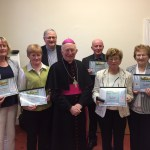DONEGAL: At the presentation of certificates for the Cosáin Cholmcille Course: Exploring Faith and Ministry by Bishop Philip Boyce OCD are: (front) Máire Ní Bhroinn, Gort a'Choirce; Mary Theresa Lawne, Killymard; Bishop Boyce; Anne Gillespie, Killymard; Mary Gallagher, Stranorlar. Back Row: Fr Cathal Ó Fearraí, course director, and Martin McCann, Culdaff.