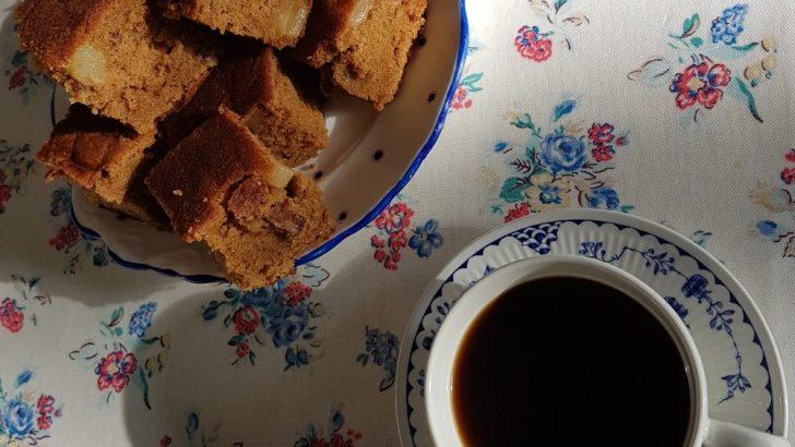 Coffee, cardamom, pear and walnut cake