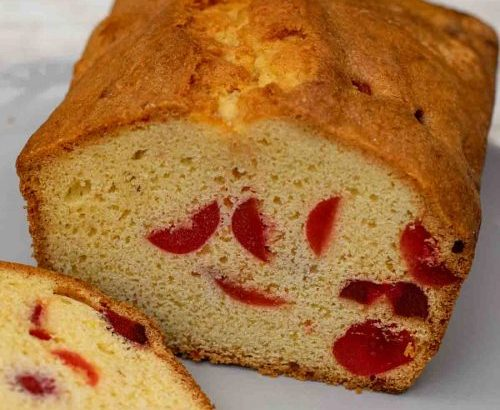 A traditional treat: cherry almond loaf cake