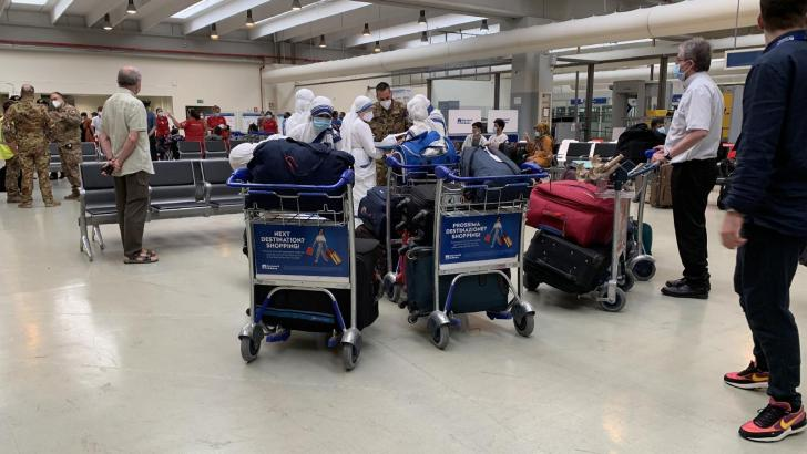 Missionaries of Charity and 14 disabled children from Kabul arrive at Rome airport