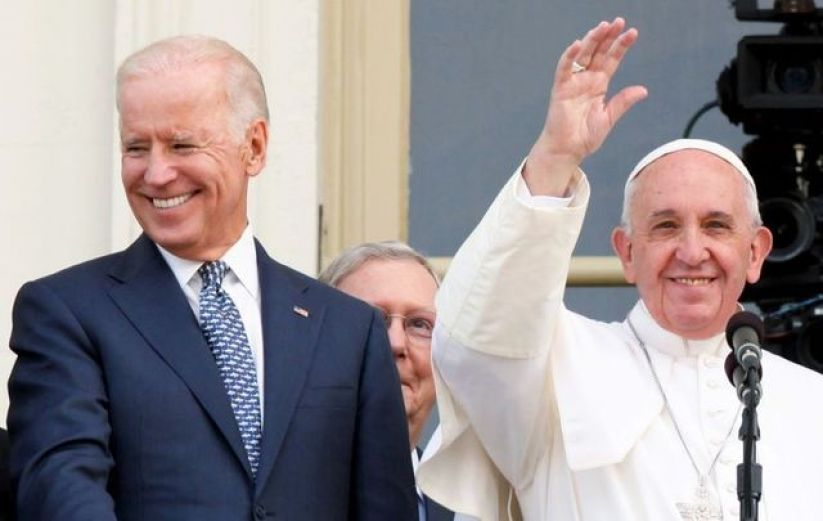 September 24, 2015: Pope Francis and then-Vice President Joe Biden after the Pope\'s address to a joint meeting of Congress.