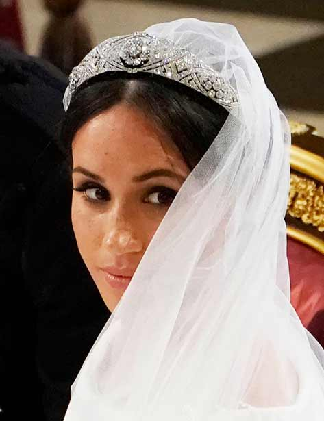 Meghan Markle stands at the altar of St George's Chapel on May 19, 2018 in Windsor, England. Credit: Owen Humphreys - WPA Pool/Getty Images