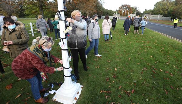 A Mother and Baby Home protest at Áras an Uachtaráin in October calling on President Michael D Higgins not to sign the controversial Mother and Baby Homes legislation. The president signed the bill that morning. Photograph: Sasko Lazarov/ RollingNews.ie