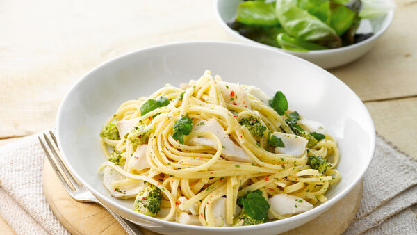 Haddock with pasta and broccoli