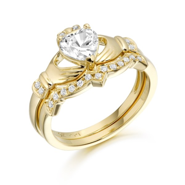 9ct Gold CZ Claddagh Engagement Ring set with Matching Wedding Ring - CL34