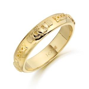 9ct Gold Claddagh Wedding Band-CL41