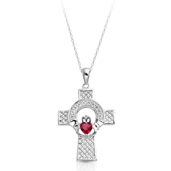 9ct White Gold Ruby Claddagh Cross Pendant - C126WR