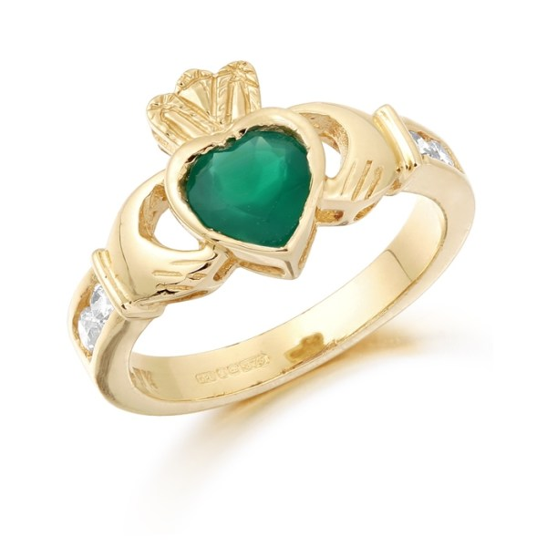 9ct Gold Claddagh Ring studded with Emerald and precision set Cubic Zirconia settings on each side of the shoulder - CL102G
