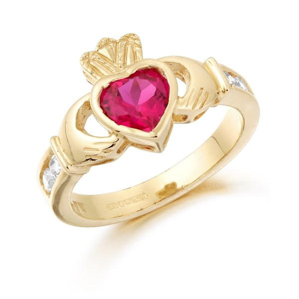 9ct Gold Claddagh Ring studded with Ruby and precision set Cubic Zirconia settings on each side of the shoulder - CL102R