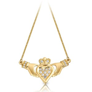 9ct Gold Claddagh Necklace Pendant-P038