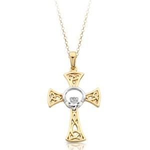 9K Gold Claddagh Cross-C03