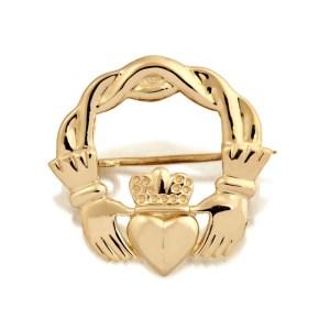 9ct Gold Claddagh Brooch-BR1