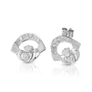 Silver Claddagh Earrings-SCLECZ