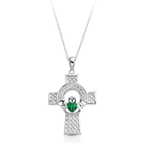Silver Emerald Claddagh Cross Pendant combined with Celtic Knot - SC126G