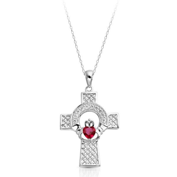 Silver Ruby Claddagh Cross Pendant combined with Celtic Knot Design - SC126R