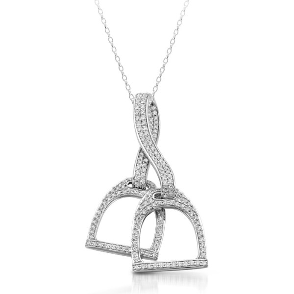 9ct White Gold Double Stirrup Pendant - P41