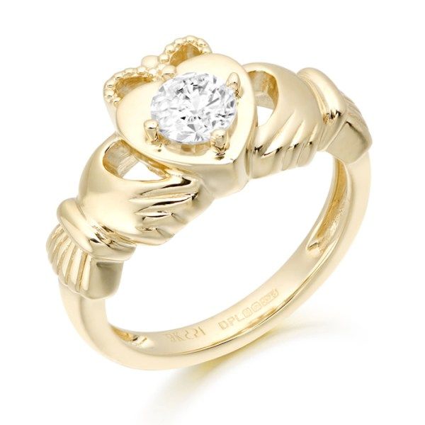 9ct Gold Solitare CZ Claddagh Ring - CL51