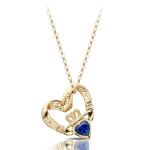 Floating Heart Claddagh Pendant-P058S