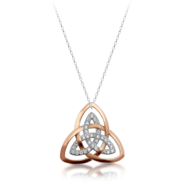 Silver Trinity Knot Celtic Pendant with Rose Gold Plating and stidded with CZ - SP89