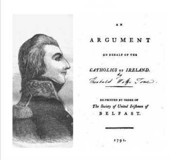 "Theobald Wolfe Tone and the frontispiece of ""Argument on behalf of the Catholics of Ireland"""