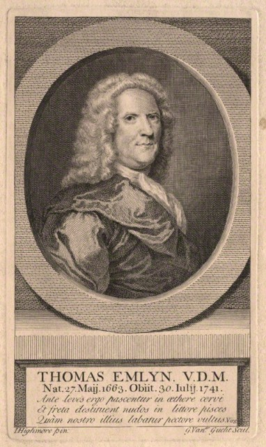 NPG D8717; Thomas Emlyn by Gerard Vandergucht, after Joseph Highmore