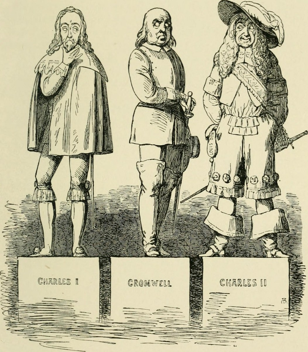 A statue of Charles I clasps his neck and a statue of Charles II looks sideways at the statue of Cromwell standing between them.