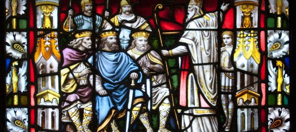 Stained glass depicting St Patrick preaching to the kings of Ireland
